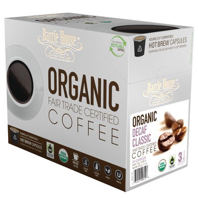 Barrie House Fair Trade Organic Decaf Classic Single Serve Capsules 24 ct K-cups