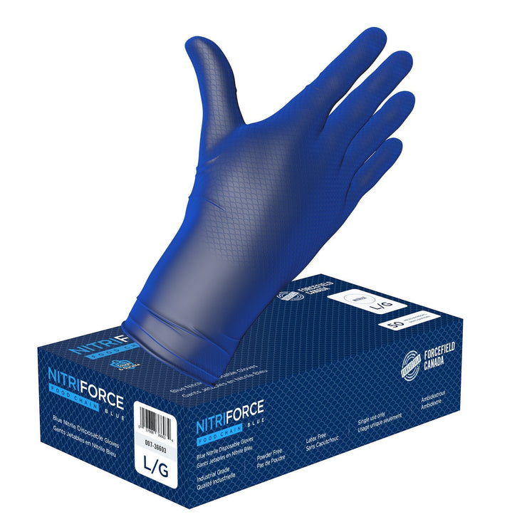 NitriForce Foodchain Textured Nitrile Disposable Gloves (Case of 500 Gloves) - Hi Vis Safety