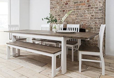 Hever Dining Table With 5 Chairs & Bench In White And Dark Pine Extendable With 2 X Extensions Noa & Nani