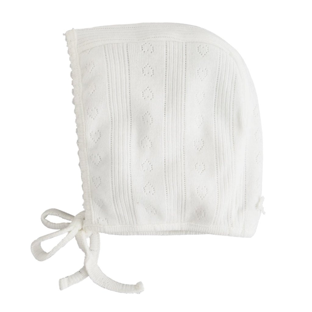Ribbed Openwork Bonnet, White - Mabel Child