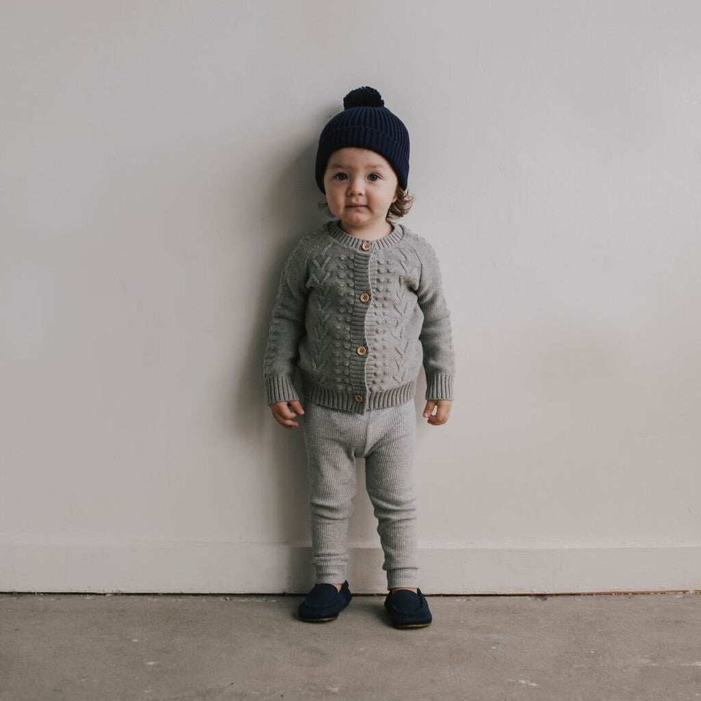 Light Grey Cable Cardigan - Mabel Child