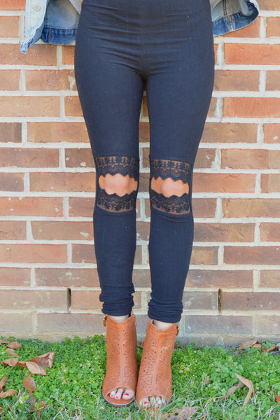 Lacey Romance Black Cut Out Knee Leggings (Out Of Stock)