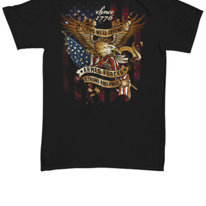 This We'll Defend Patriotic Strong & Free Thanks To Armed Forces TShirt