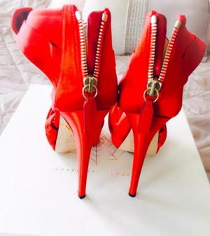 Charlotte Olympia Satin Bow Detail Heels Size 36.5 UK 3.5
