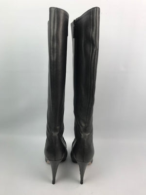 Prada Pewter Leather Knee Boots 37