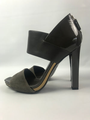Gucci Taupe Suede and Patent Sandal 37