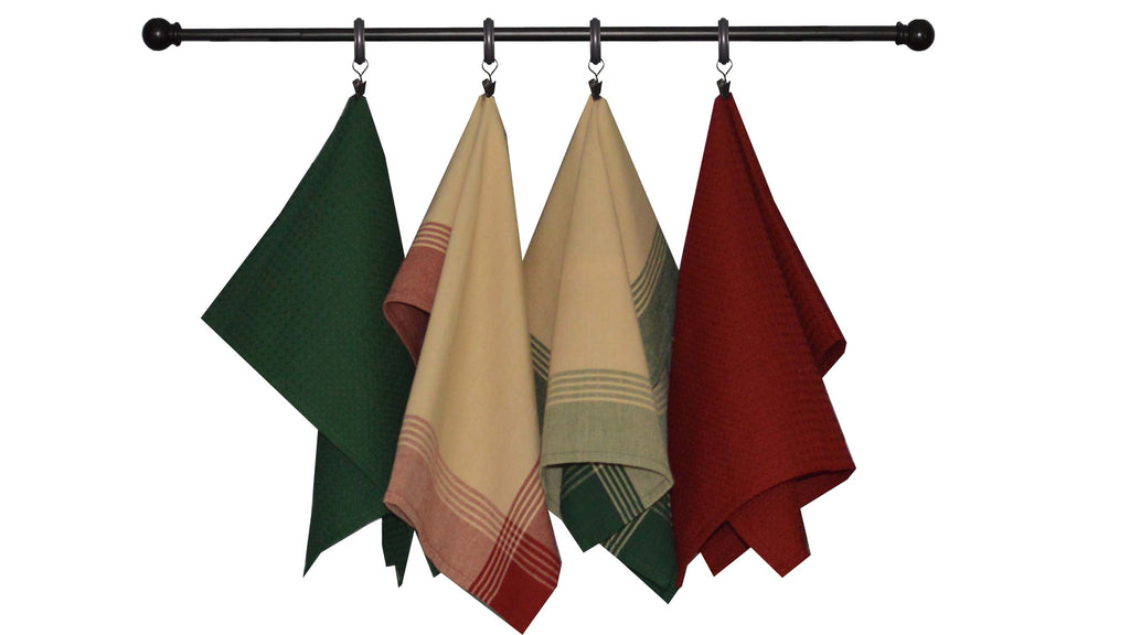 Christmas Seasonal Towel Set of 4 - Red and Green Country/Primitive