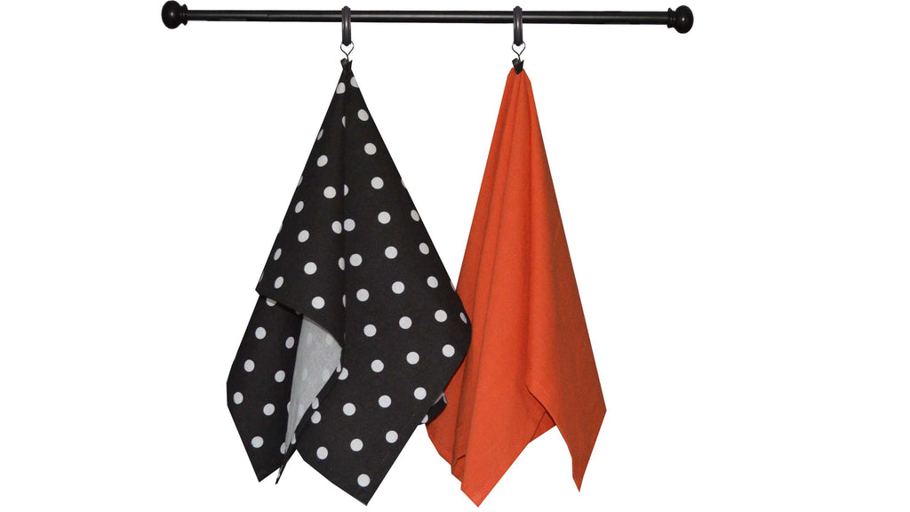 Halloween Seasonal Towel Set of 2 - Black Print/Orange Solid