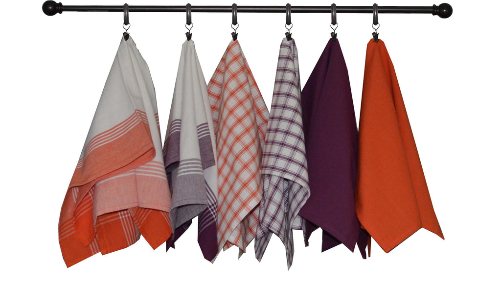 Halloween Seasonal Towel Set of 6 - Orange and Purple