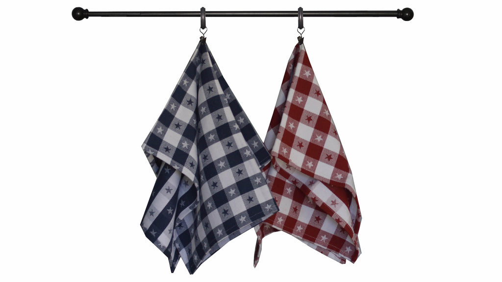 Patriotic Seasonal Towel Set of 2- Jacquard Star Check