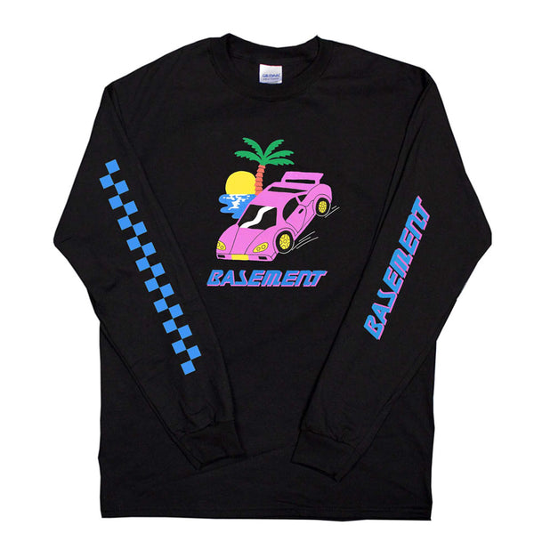 SPORTS CAR LONG SLEEVE BLACK TEE