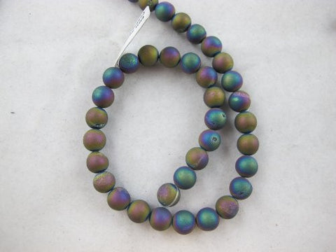 46pcs Druzy Agate Round 8mm 15.5''strand Multi-color Finding Charms Necklace Bracelet Beads