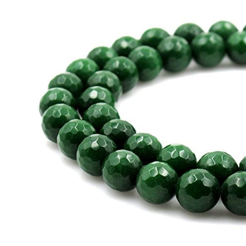 BRCbeads Gorgeous Faceted Dark Green Dyed Jade Gemstone Round Loose Beads 10mm Approxi 15.5 inch 35pcs 1 Strand per Bag for Jewelry Making
