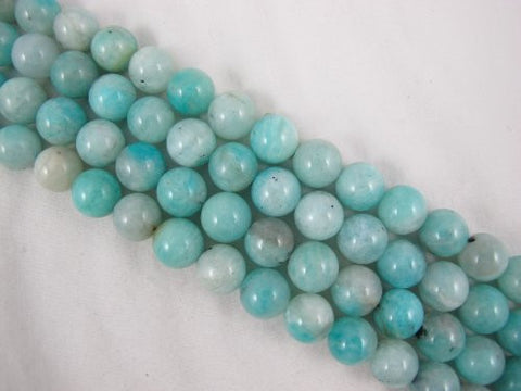 Amazonite Natural Gemstone Beads Blue/Clear Color 12mm Round 33pcs 15.5'' Jewelry Making Beads