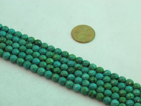 Nature Chinese Turquoise Round Faceted Green 6mm 15'' Per Strand 66pcs