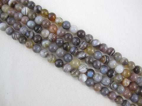 Agate Natural Gemstone Botswana Agate Brown Color Smooth Round 8mm 49pcs 15.5'' Per Strand Beads