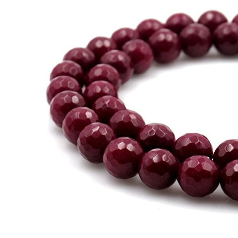 BRCbeads Gorgeous Faceted Dark Red Dyed Jade Gemstone Round Loose Beads 10mm Approxi 15.5 inch 35pcs 1 Strand per Bag for Jewelry Making
