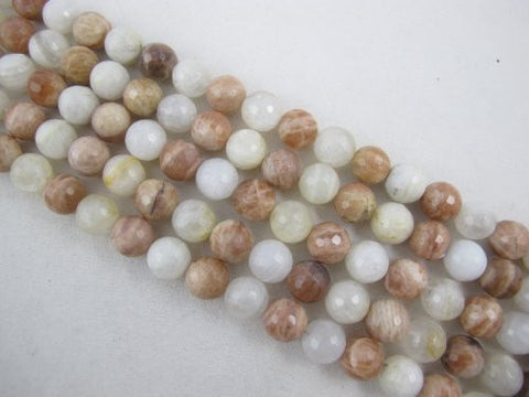 Moonstone And Sunstone Natural Gemstone Faceted Round 12mm White/Orange Color 15.5'' Strand Gemstone Beads