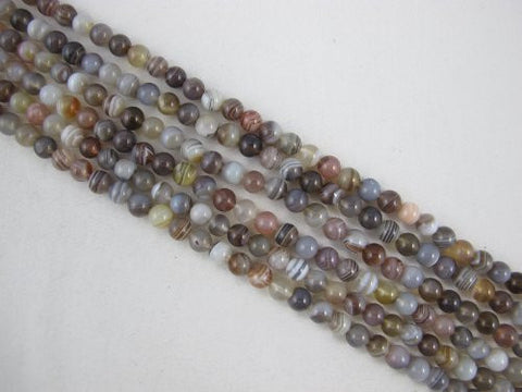 Agate Natural Gemstone Botswana Agate Brown Color Smooth Round 6mm 66pcs 15.5'' Per Strand Beads