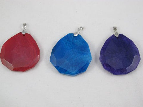 Agate Pendant with One Hook Set of 3 Mixed Shape Mixed Color
