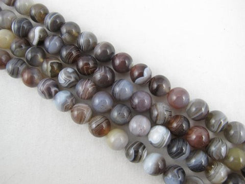 Agate Natural Gemstone Botswana Agate Brown Color Smooth Round 10mm 39pcs 15.5'' Per Strand Beads