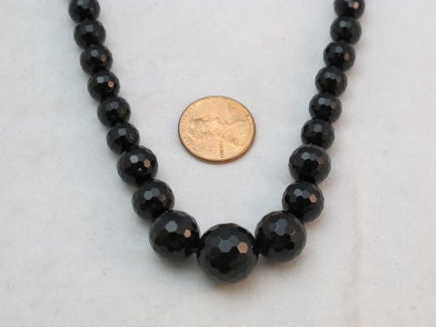 Black Onyx Gradual Faceted Beads Round 16'' Per Strand (large size) 14mm-24mm