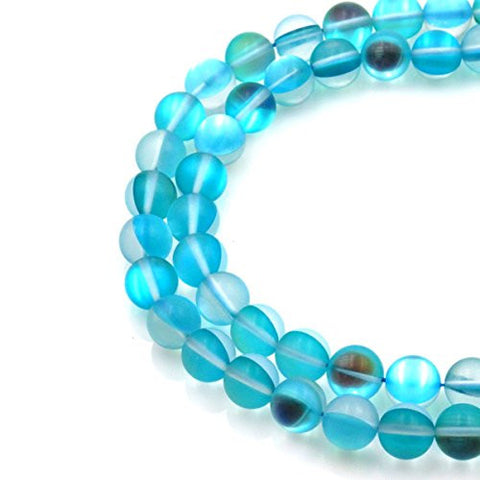 BRCbeads Gorgeous Synthetic Blue Moonstone Gemstone Round Loose Beads 8mm Approxi 15.5 inch 45pcs 1 Strand per Bag for Jewelry Making