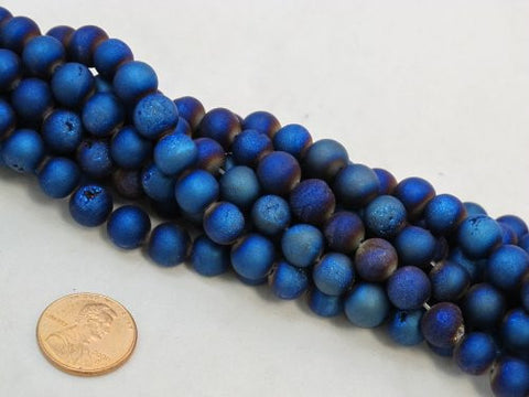 37pcs Druzy Agate 10mm 15''strand Blue Color Finding Charms Necklace Bracelet Beads