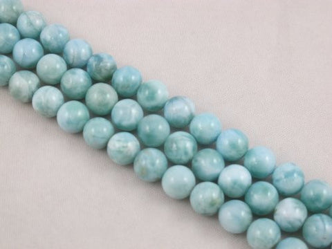 "Natural Larimar A Grade Gemstone Dominican Larimar 8mm Round 48pcs 15.5"" Per Strand Jewelry Making&design Beading"