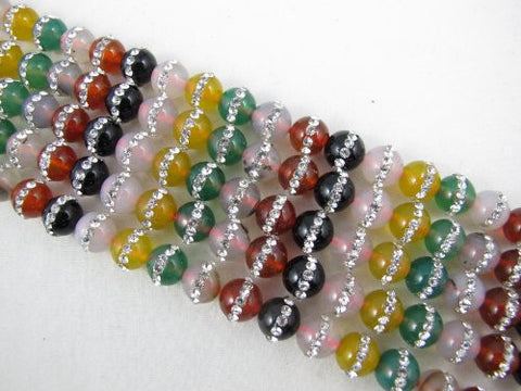 Agate Natural Gemstone Dyed Multi Color Round Shape With one-line Rhinestone 8mm 48pcs 15.5'' Per Strand Beads