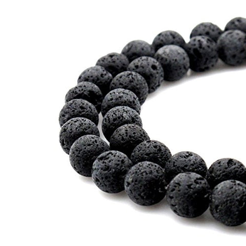 BRCbeads Gorgeous Natural Black Lava Stone Gemstone Round Loose Beads 6mm Approxi 15.5 inch 1 Strand per Bag for Jewelry Making
