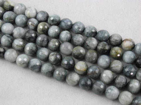 Eagle Eye Agate Natural Gemstone Faceted Round 8mm 50pcs 15.5'' Per Strand
