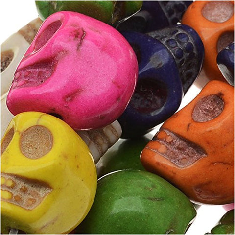 Dyed Stone Carved Skull Beads Mardi Gras Mix 10x12mm (20)