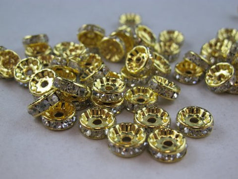 100 Pcs Glass Crystal Rondelle Spacer Bead Gold Plated 10mm Crystal White