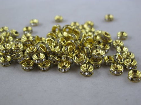 100 Pcs Glass Crystal Rondelle Spacer Bead Gold Plated 6mm Crystal White