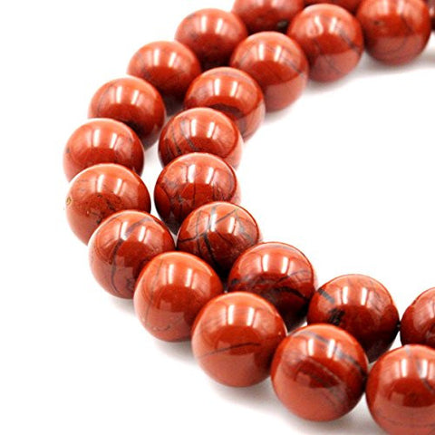 BRCbeads Gorgeous Natural Red Jasper Gemstone Round Loose Beads 14mm Approxi 15.5 inch 25pcs 1 Strand per Bag for Jewelry Making