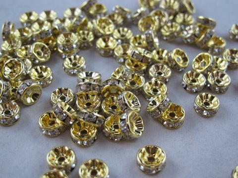 100 Pcs Glass Crystal Rondelle Spacer Bead Gold Plated 8mm Crystal White