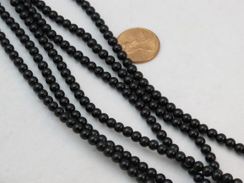 Black Onyx Gemstone Beads 4mm Round 15.5'' Per Strand Finding Charms Necklace Bracelet Jewelry Making&Design