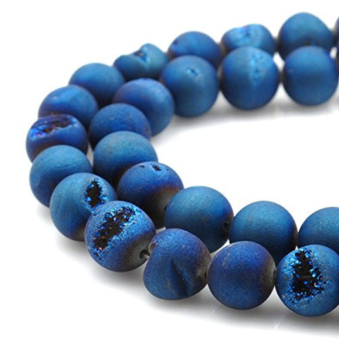 BRCbeads Gorgeous Natural Blue Durzy Agate With Coating Gemstone Round Loose Beads 14mm Approxi 15.5 inch 25pcs 1 Strand per Bag for Jewelry Making