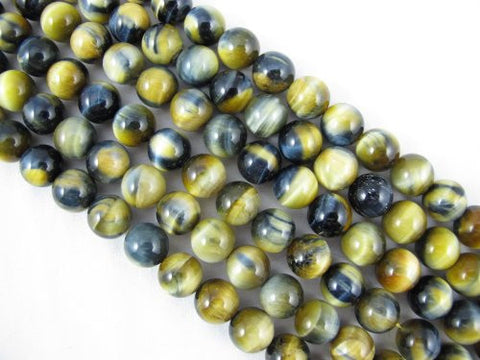 Tiger Eye Natural Gemstone Blue/Gold Color Smooth Round Shape 12mm 32pcs 15.5''per Strand Jewelry Making Beads