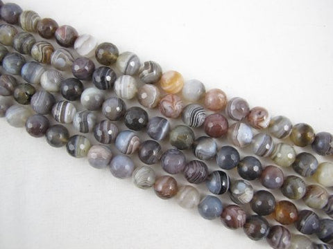 Agate Natural Gemstone Botswana Agate Brown Color Faceted Round 10mm 38pcs 15.5'' Per Strand Beads