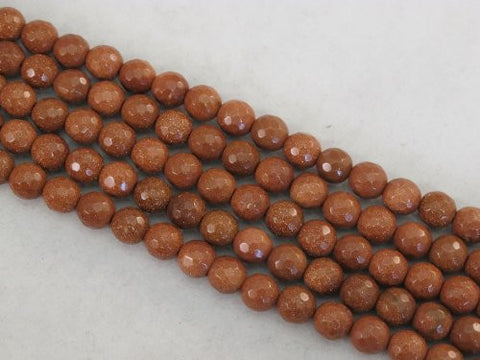 Sandstone Beads Gold Color 8mm Faceted Round 49pcs 15.5''
