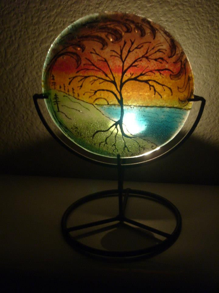 Ashes InFused Glass Cremation Art Sunset Tree of Life Ocean Wave Handmade