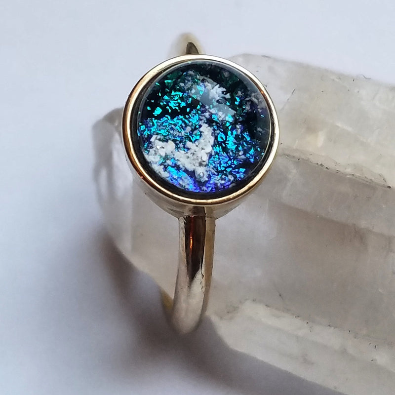 NEW Small 14K Gold Cremation Jewelry Ring Ashes InFused Glass 6,7,8