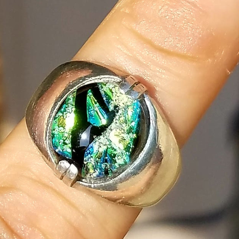 Men's Band Cremation Jewelry Ring Ashes InFused in Glass Size 10 infusion glass ashesinfusedglass.com