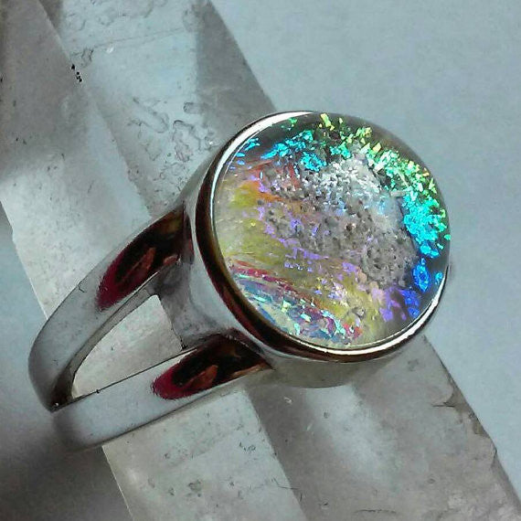 Cremation Jewelry Ring 10mm Sterling Silver Ashes InFused Glass