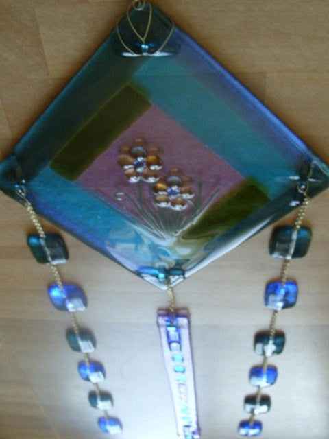 Ashes Infused Glass Cremation Art Sun Catchers Beaded Mosaic Flower