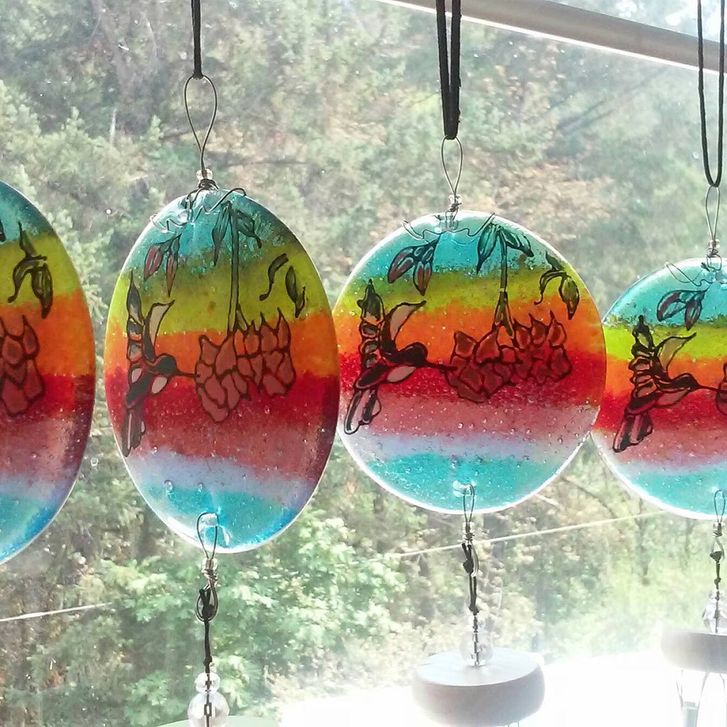 Ashes Infused Glass Cremation Art Wind Chime  Hummingbird Rainbow Handmade