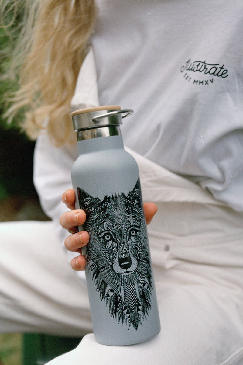 Grey Wolf Water Bottle