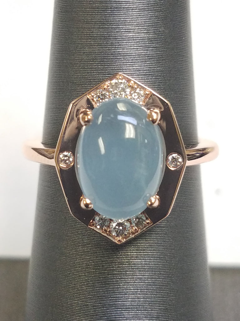Diamond Ring With Aquamarine Center in Rose Gold By Irthly-Front View